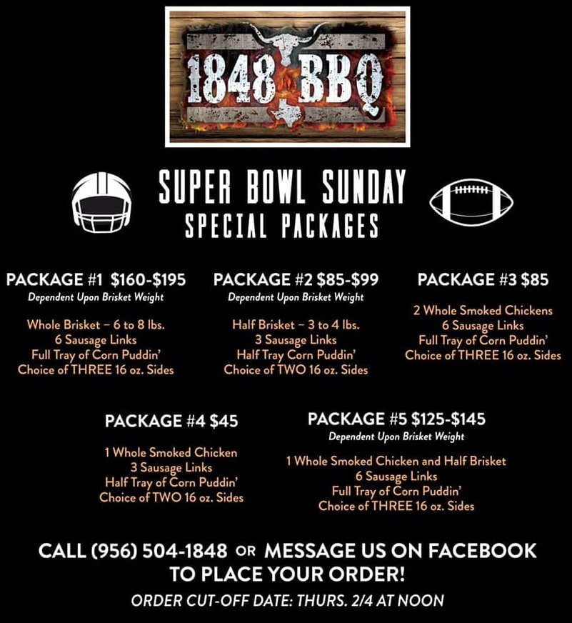 1848BBQ - Super Bowl Packages